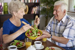 Senior couple during breakfast Royalty Free Stock Images
