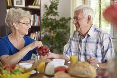 Senior couple during breakfast Stock Photo