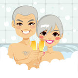 Senior Couple Bubble Bath Stock Photography