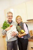 Senior couple buying fruits Stock Photography