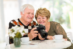 Senior couple camera Stock Photos
