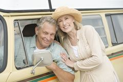 Senior Couple With Campervan Stock Images