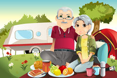 Senior couple camping. A  illustration of senior couple camping and having a picnic Stock Photos