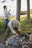 Senior couple camping Stock Photos