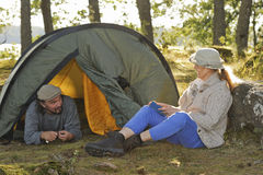 Senior couple camping stock images