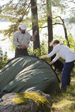 Senior couple camping Royalty Free Stock Image