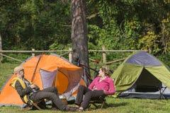Senior couple at camping Royalty Free Stock Photography