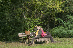 Senior couple at camping Stock Images