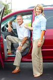 Senior couple in the car. Smiling happy senior couple in the car Royalty Free Stock Photo