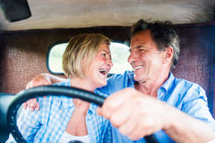 Senior couple in a car Royalty Free Stock Image