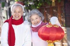 Senior couple Celebrates Chinese New Year Stock Image