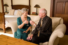 Senior couple celebrating Stock Image