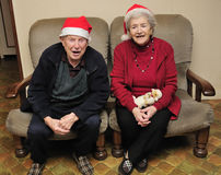Senior couple celebrating christmas Royalty Free Stock Photos