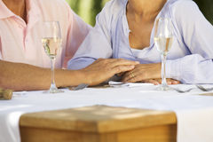A senior couple celebrating close-up of hands and champagne flutes Royalty Free Stock Images