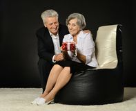 Senior couple celebrating holiday Stock Images