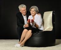 Senior couple celebrating holiday Stock Images