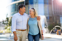 Senior Couple in the City. Loving Senior Couple Outdoors Smiling Stock Image