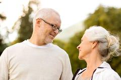 Senior couple in city park Royalty Free Stock Photo