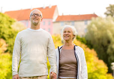 Senior couple in city park Royalty Free Stock Images