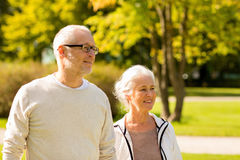 Senior couple in city park Stock Image