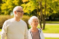 Senior couple in city park Stock Image