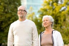 Senior couple in city park Stock Photos