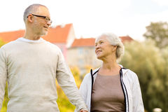 Senior couple in city park Royalty Free Stock Image