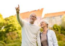 Senior couple in city park Stock Photography