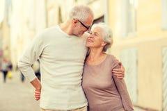 Senior couple on city street Royalty Free Stock Image