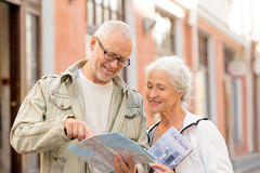 Senior couple on city street Stock Photos