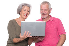 Senior couple with computer Stock Image