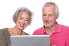 Senior couple with computer Royalty Free Stock Photography