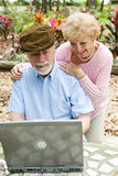 Senior Couple on Computer - Vertical Royalty Free Stock Image