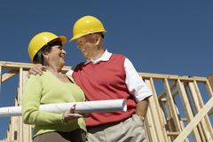 Senior Couple At Construction Site Stock Photos