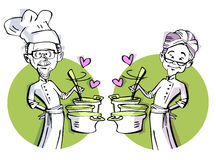 Senior couple cooking Royalty Free Stock Image
