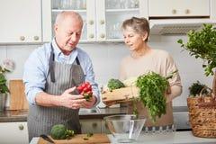 Senior couple cooking vegetarian meal. Senior couple cooking fresh and healthy vegetarian meal Stock Photography