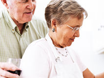 Senior couple cooking together Stock Images