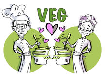 Senior Couple Chef Vegan Vegetarian Stock Images
