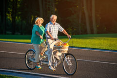 Senior couple on country bike ride Royalty Free Stock Photos