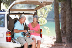 Senior couple on country picnic. Sharing a drink Stock Image