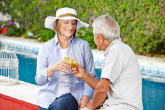 Senior couple crashing glasses with champagne Royalty Free Stock Images