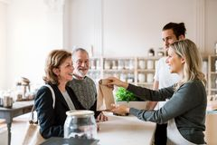 Senior couple buying groceries in zero waste shop, sales assistants serving them. Senior couple customers buying groceries in zero waste shop, sales assistants stock photography