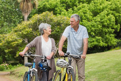 Senior couple on cycle ride Royalty Free Stock Images