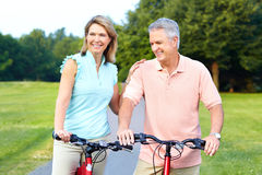 Senior couple cycling Royalty Free Stock Image