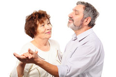 Senior couple dance. Isolated, half body Royalty Free Stock Photography