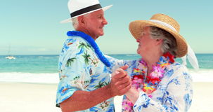 Senior couple dancing. On the beach stock video