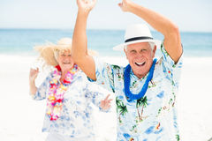 Senior couple dancing at the beach Stock Images