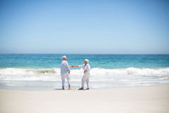 Senior couple dancing at the beach Stock Image