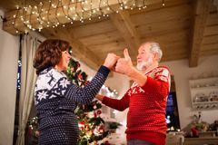 Senior couple dancing by Christmas tree in the evening. Royalty Free Stock Image