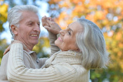 senior couple dancing    in the park Stock Photography